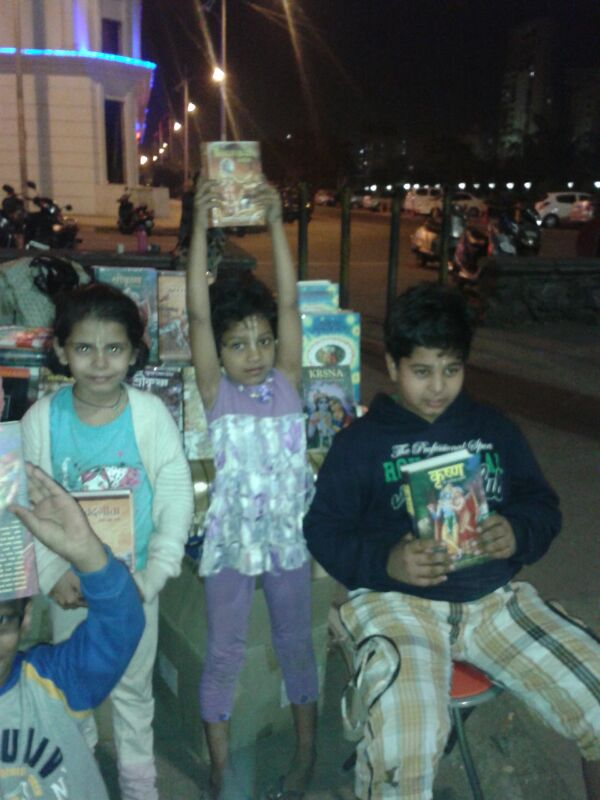 Congregation Children Distributing Bhagavad Gita